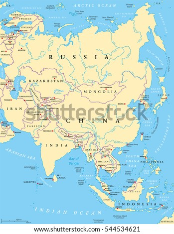 Countries Bordering China Map.Asia Political Map With Capitals National Borders Rivers And Lakes