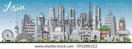 asia skyline silhouette with