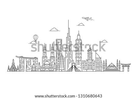 Asia skyline. Travel and tourism background. Asian landmarks. Outline vector illustration.
