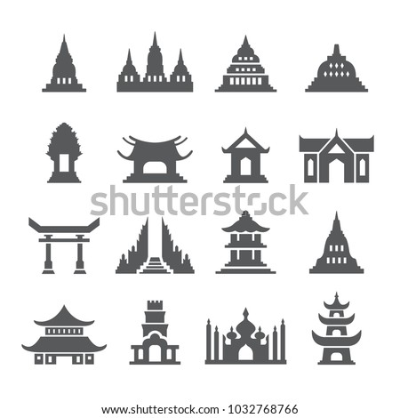 asia temple icon set
