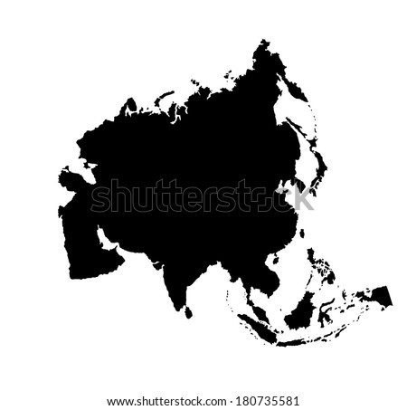 Asia vector map silhouette isolated on white background.