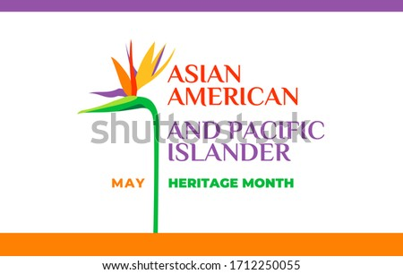 Asian American and Pacific Islander Heritage Month. Vector banner for social media, card, poster. Illustration with text, tropical plants. Asian Pacific American Heritage Month horizontal composition.