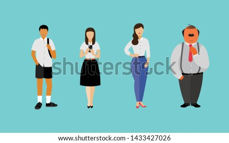 Asian amily standing set flat style included with Business like father, Smart mother, and Teen son,Teen daughter in Student Uniform, Vector Illustration