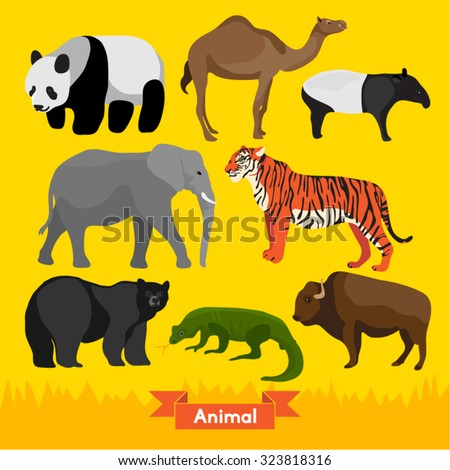 asian animals vector design