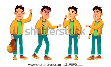 Asian Bad Boy Kid Poses Set Vector. High School Child. For Web, Poster, Booklet Design. Isolated Cartoon Illustration Foto stock ©