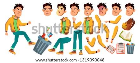 Asian Bad Boy Vector. High School Child. Animation Creation Set. Face Emotions, Gestures. Bad Boy, Emotional, Pose. Print, Invitation Design. Animated. Illustration Foto stock ©