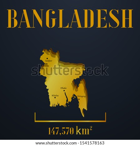 Asian Bangladesh golden 3d solid country outline silhouette, realistic piece of world map template, for infographic, vector illustration, isolated object, background. From countries set