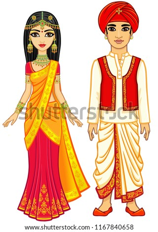 Asian beauty. Animation Indian family in traditional clothes. Young man and woman. Fairy tale characters. Full growth. Vector illustration isolated on a white background.