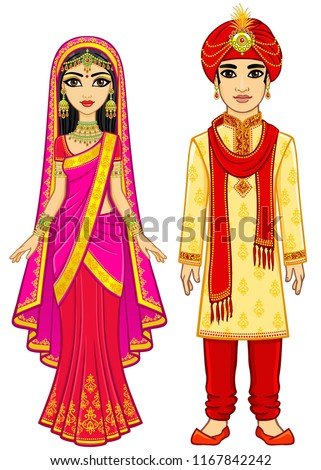 aa1f34ed30 Animation Indian family in traditional clothes. Young man and woman. Fairy  · INDIAN WEDDING COUPLE CHARACTER DESIGN #1077048995 · easy to edit vector  ...