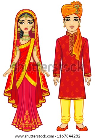Asian beauty. Animation Indian family in traditional clothes. Young man and woman. Fairy tale characters, prince and princess. Full growth. Vector illustration isolated on a white background.