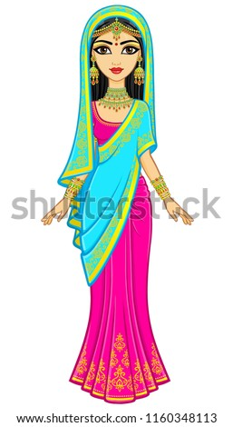 Asian beauty. Animation portrait of the young Indian girl in traditional clothes. Fairy tale princess. Full growth. Vector illustration isolated on a white background.