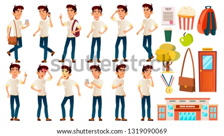 Asian Boy Schoolboy Kid Poses Set Vector. Emotional. White Shirt. High School Child. Children Study. Knowledge, Learn, Lesson. For Advertising, Placard, Print Design. Isolated Cartoon Illustration