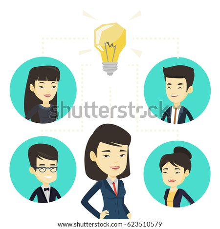 Asian business people working on new idea. Business people discussing business idea. Group of business people connected by one idea bulb. Vector flat design illustration isolated on white background.