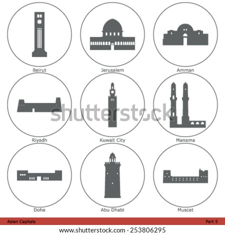 asian capitals   icon set  part