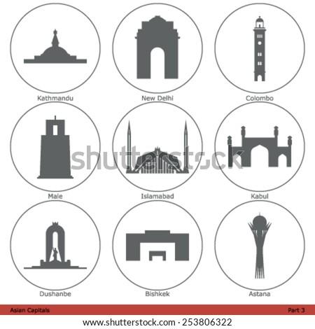 asian capitals   icon set  part