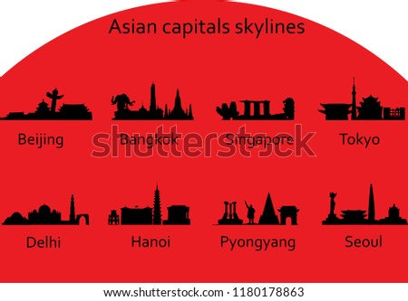 Asian capitals skylines vector set: Beijing, Bangkok, Singapore, Tokyo, Delhi, Hanoi, Pyongyang, Seoul - tourism advertising pattern