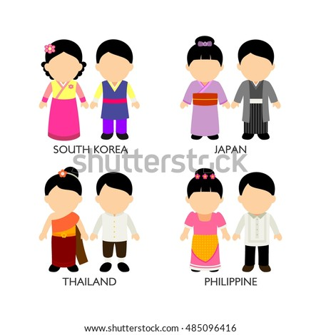 asian cartoon kids in different