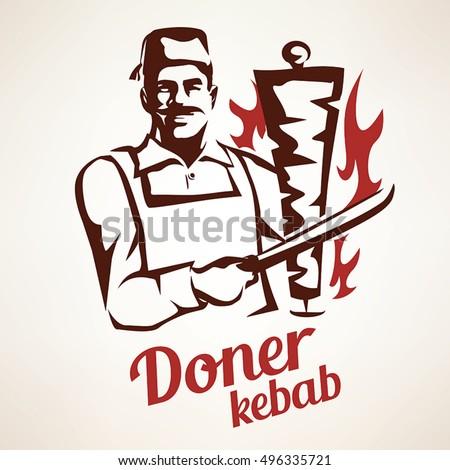 asian chef preparing doner kebab illustration, outlined symbol in vintage style, emblems and labels or logo template