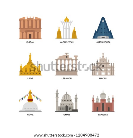 Asian cities and counties landmarks icons set 3