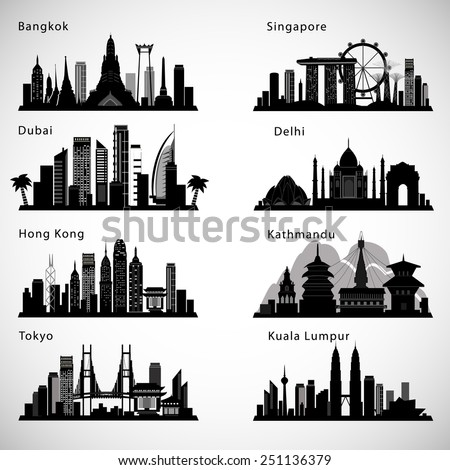 asian cities skyline set