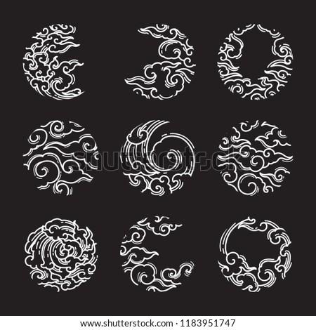 Asian cloud circle shape vector set. White line on black background. Thai style. Japanese style. Chinese style.