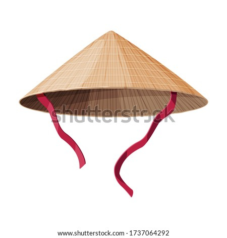 Asian Conical Straw Hat, Traditional Chinese or Vietnamese Headdress Flat Vector Illustration