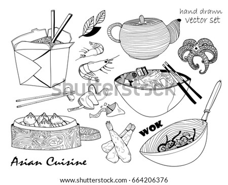 Asian Cuisine Hand Drawn Graphic Vector Set All Elements Are Isolated