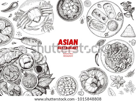 Asian cuisine sketch collection. Hand drawn vector illustration. Food menu design template, engraved elements. Mediterranean food set.