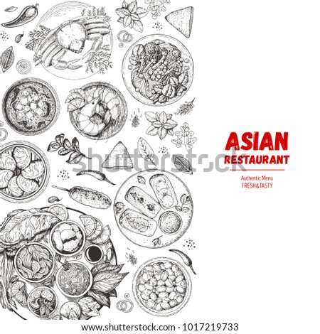 Asian cuisine sketch collection. Hand drawn vector illustration. Food menu design template, engraved elements. Asian Food set.