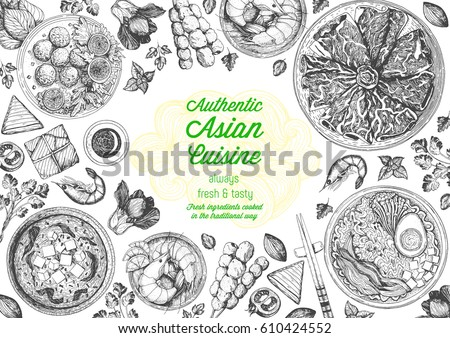 Asian cuisine top view frame. Food menu design with noodles,ramen, shrimps, fish balls and wagyu. Vintage hand drawn sketch vector illustration. #610424552