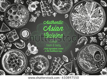 Asian cuisine top view frame. Food menu design with noodles,ramen, shrimps, fish balls and wagyu. Vintage hand drawn sketch vector illustration. #610897550