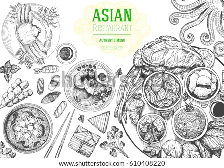 Asian cuisine top view frame. Food menu design with noodles, soup miso, sushi and set of traditional dishes. Vintage hand drawn sketch vector illustration.
