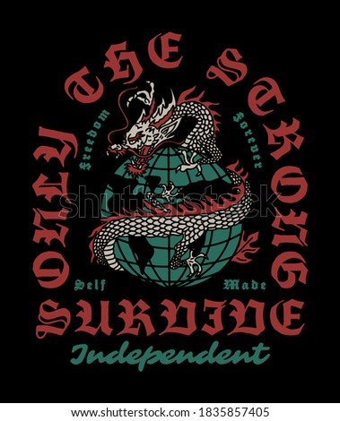 asian dragon around wire globe