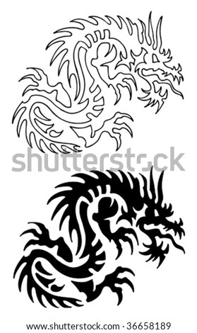 stock vector : Asian Dragon Tattoo with stencil