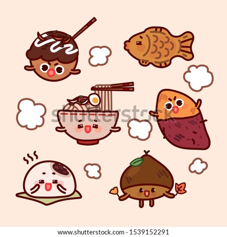 Asian fall & winter street food. Cute food character