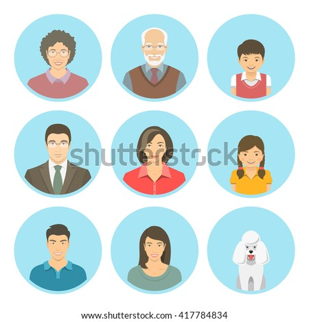 asian family faces flat vector