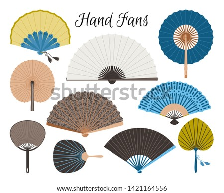 Asian fans. Colored hand traditional fan set isolated on white background, paper folding painting vector fans