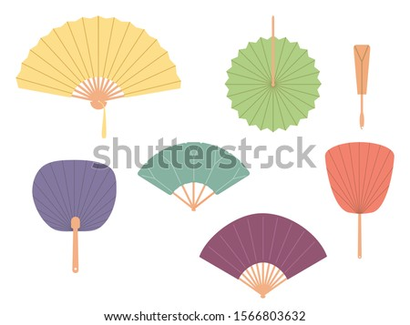 Asian fans. Colored hand traditional fan set isolated on white background. Paper folding painting vector fans