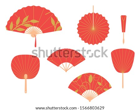 Asian fans. Red hand traditional fan set isolated on white background. Paper folding painting vector fans