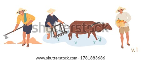 Asian farmer male character set, vector flat isolated illustration. People wearing conical hats digging soil, growing rice in paddy field and harvesting fruit. Asian agricultural industry.