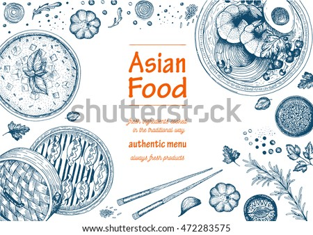 Asian food background. Asian food poster. Asian food frame menu restaurant. Asian food sketch menu.Vector illustration #472283575