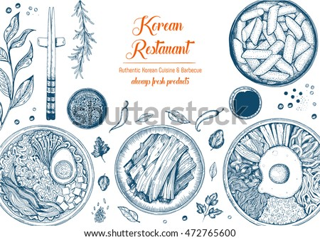 Asian food background. Asian food poster. Korean  food menu restaurant. Korean food sketch menu. Vector illustration