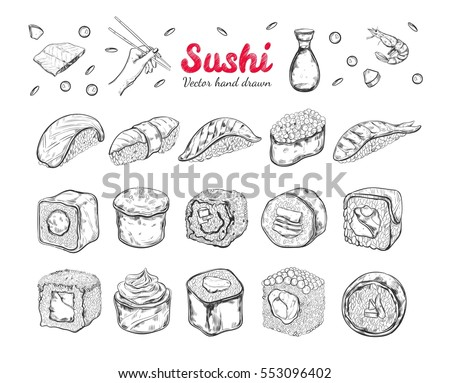 Asian Food collection. Sushi.  Sketch style. Vector hand drawn illustration. Isolated objects for design