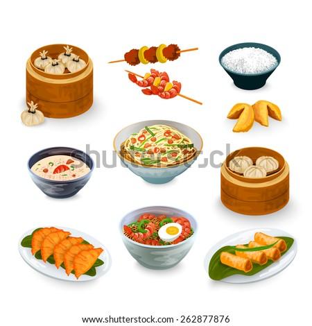 asian food decorative icons set