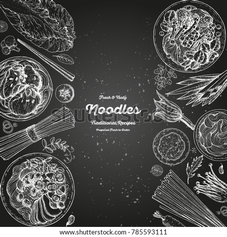 Asian food engraved sketch collection. Noodle dishes top view. Food menu design with cooked noodles . Vintage hand drawn sketch vector illustration. Asian cuisine menu background.