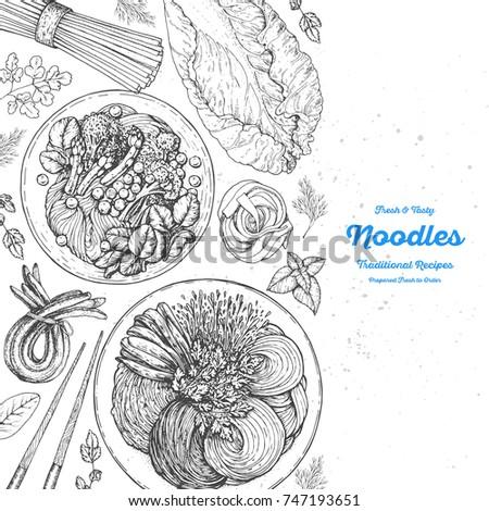 Asian food engraved sketch. Noodle dishes top view. Food menu design with cooked noodles . Vintage hand drawn sketch vector illustration. Asian cuisine menu background.