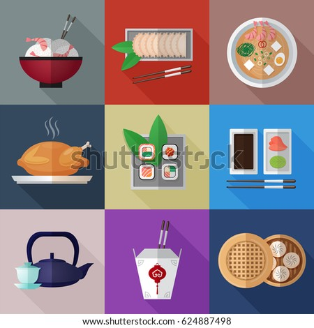 Asian food flat icons with shadows on colorful squares background set. RGB EPS 10 vector illustration