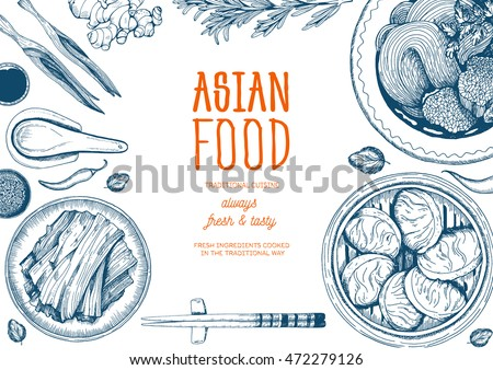 asian food frame linear