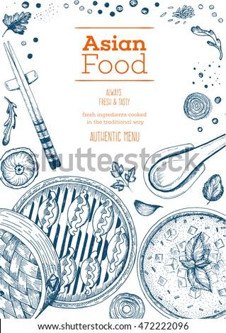 asian food frame linear