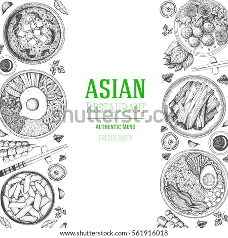 asian food frame menu design